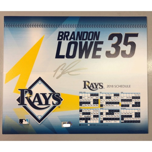 Photo of Game-Used Autographed Locker Tag: Brandon Lowe - First MLB Season