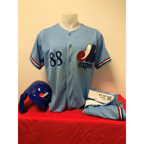 Photo of Gerardo Parra Expos Gear: Game-Used Jersey, Game-Used Pants, and Game-Used Batting Helmet