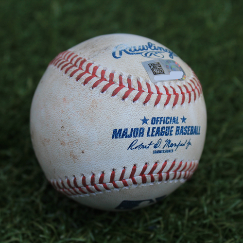 Photo of Game-Used Baseball: John Hicks 158th Career Hit (DET @ KC - 7/14/19)
