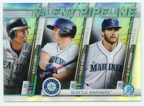 Photo of 2017 Bowman Chrome Talent Pipeline Refractors #TPSEA Kyle Lewis/Tyler O'Neill/D.J. Peterson