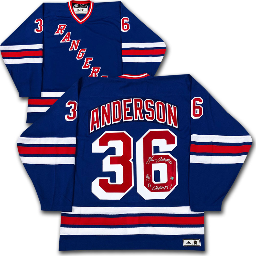 Glenn Anderson Autographed New York Rangers adidas Team Classics Authentic Vintage Jersey w/94 SC CHAMPS! Inscription