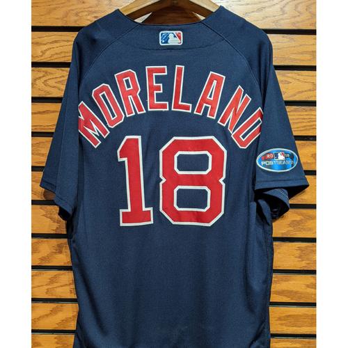Photo of 2018 Postseason Mitch Moreland #18 Team Issued Navy Road Alternate Jersey