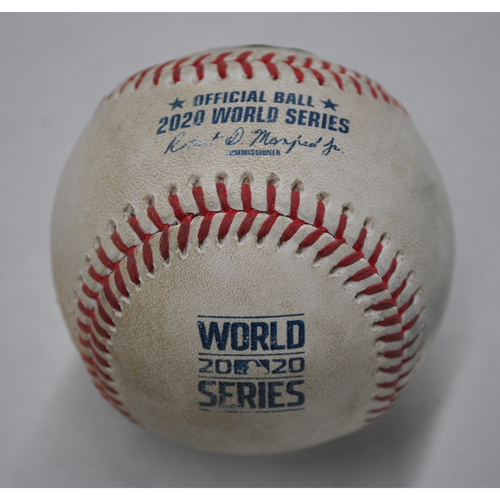 Photo of Game-Used Baseball - 2020 World Series - Los Angeles Dodgers vs. Tampa Bay Rays - Game 4 - Pitcher: Ryan Yarbrough, Batters: Mookie Betts (Flyout to CF), Corey Seager (Ball) - Top 3