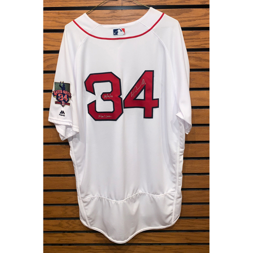 Photo of David Ortiz Autographed, Team Issued Home White jersey with David Ortiz Final Season Patch
