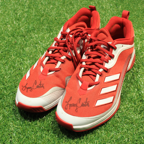 Photo of Game-Used & Autographed Trainer Shoes: Larry Carter #34 (DET @ KC 5/23/21) - Size 15