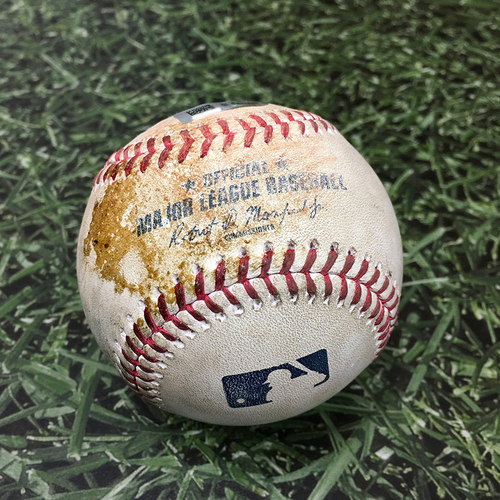 Photo of Game-Used Baseball ATL@MIL 10/08/21 (NLDS Game 1) - Corbin Burnes - Ozzie Albies: Ground Into Double Play, Jorge Soler Out at Home