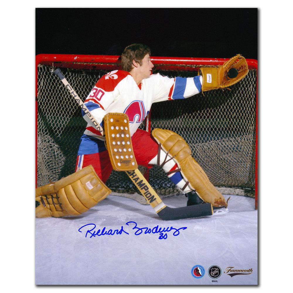 Richard Brodeur Quebec Nordiques GLOVE SAVE Autographed 8x10