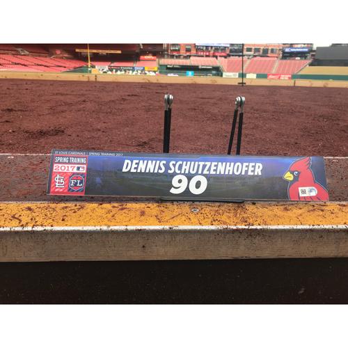 Photo of Cardinals Authentics: Dennis Schutzenhofer Team-Issued Spring Training Locker Tag
