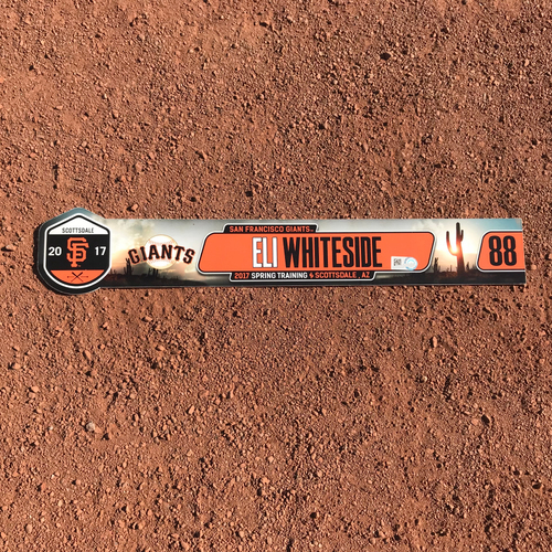 Photo of San Francisco Giants - Team-Issued 2017 Spring Training Locker Tag - #88 Eli Whiteside