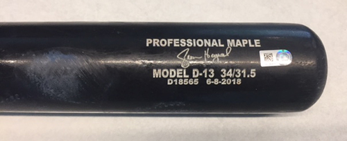 Photo of Jason Heyward Game-Used Bat -- Raisel Iglesias to Jason Heyward, Line Drive Out, Bot 9 -- Reds vs. Cubs -- 7/6/18