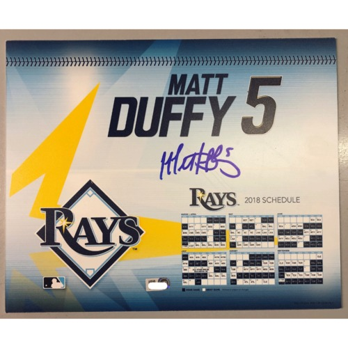 Photo of Game-Used Autographed Locker Tag: Matt Duffy