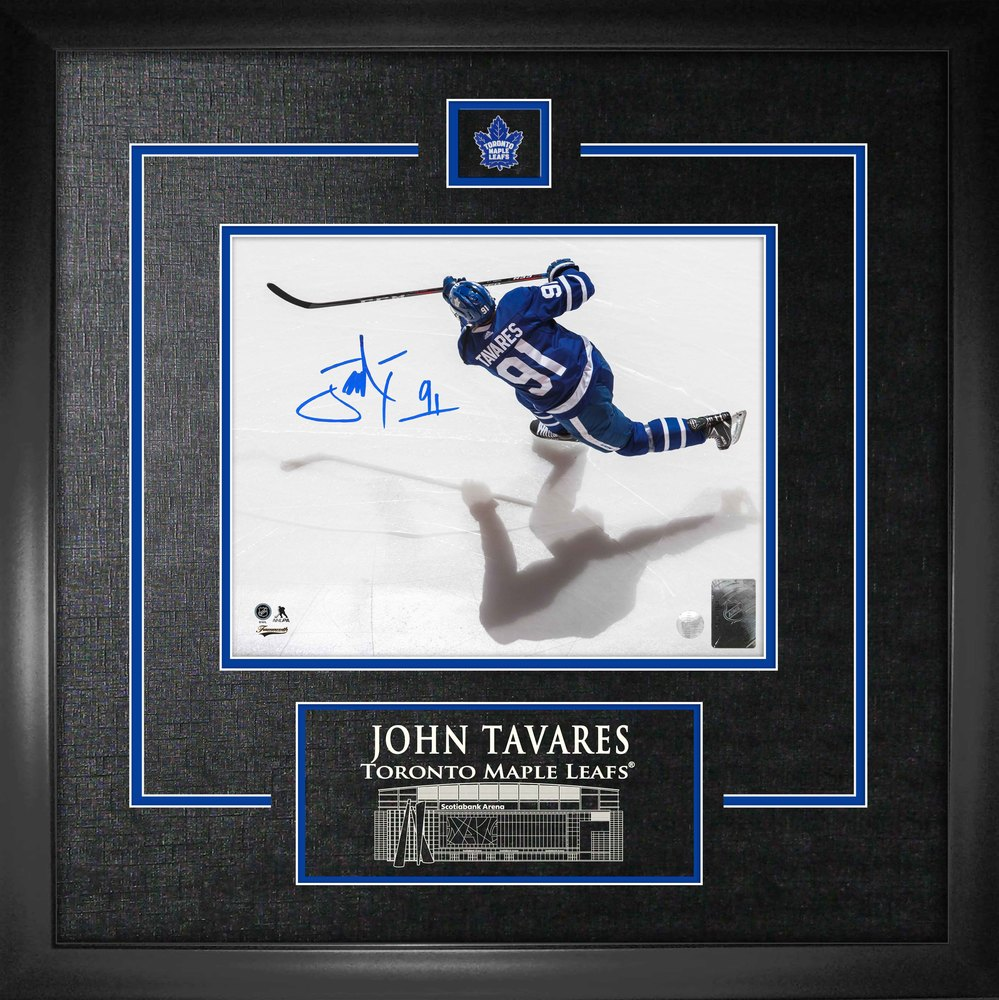 John Tavares Signed 8x10 Etched Mat Maple Leafs Overhead