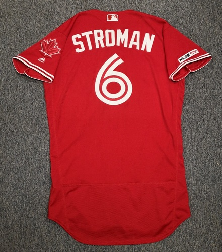 Photo of Authenticated Game Used Canada Day Jersey - #6 Marcus Stroman (July 1, 19). Size 42