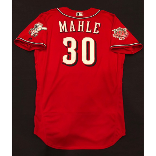"Photo of Tyler Mahle -- Game-Used ""Los Rojos"" Jersey (Starting Pitcher) -- D-backs vs. Reds on 9/6/19 -- Jersey Size 46"