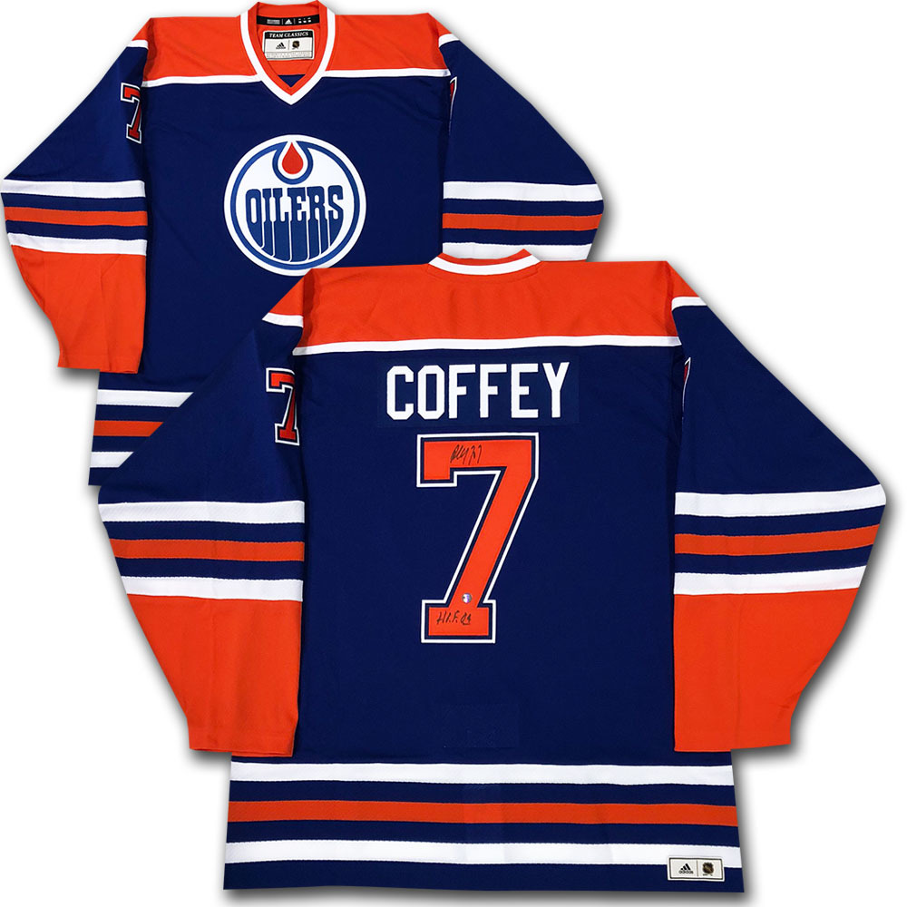 Paul Coffey Autographed Edmonton Oilers adidas Team Classics Authentic Vintage Jersey w/HOF 04 Inscription