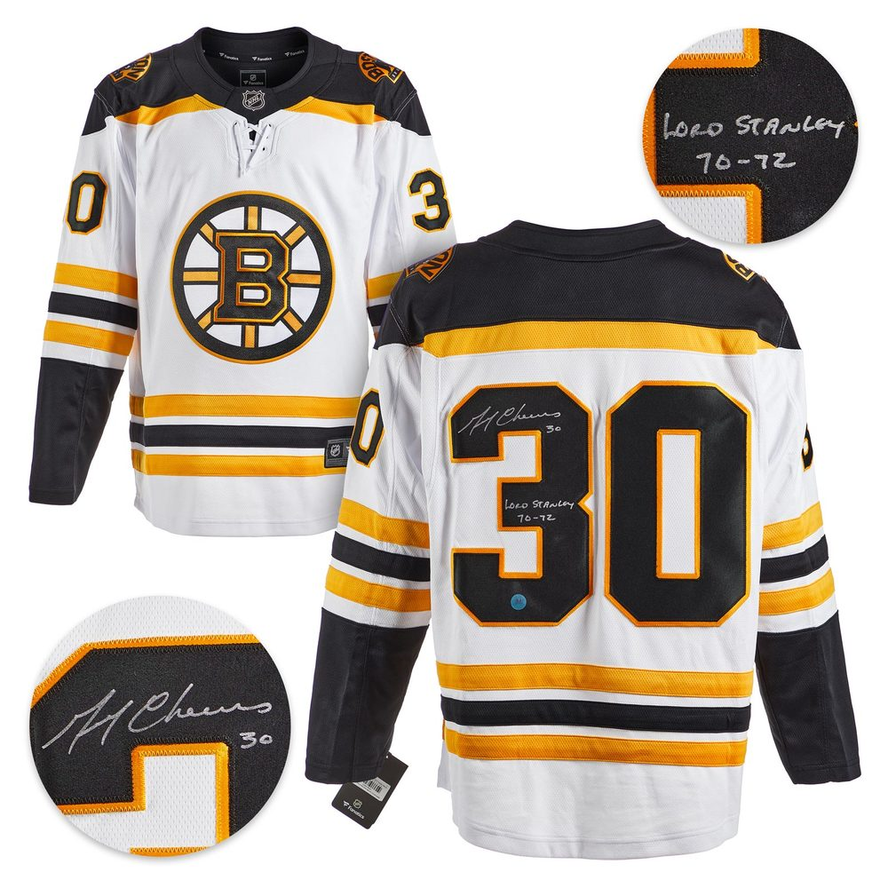 Gerry Cheevers Boston Bruins Autographed White Fanatics Jersey - Size Med