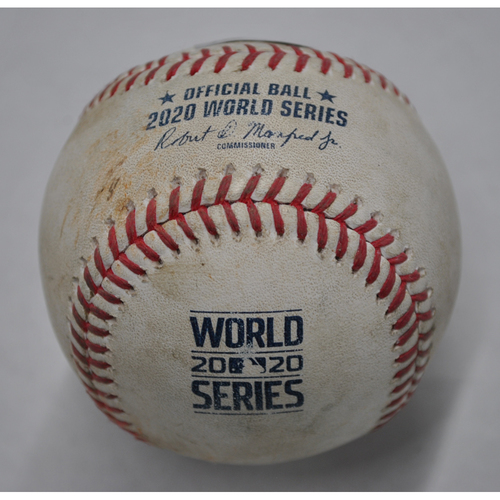 Photo of Game-Used Baseball - 2020 World Series - Los Angeles Dodgers vs. Tampa Bay Rays - Game 5 - Pitcher: Tyler Glasnow, Batters: Will Smith (Swinging Strikeout), Cody Bellinger (Swinging Strike) - Top 3