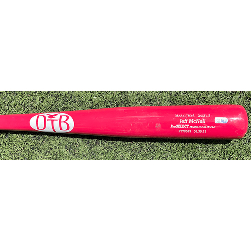 Photo of Jeff McNeil #6 - Game Used Bat - Pink DTB Model, Dove Tail Handle - Mets vs Diamondbacks - 5/9/21