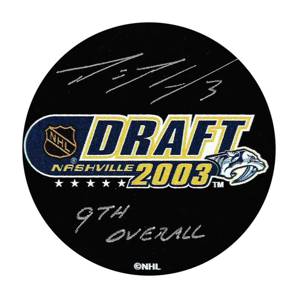 Dion Phaneuf Autographed 2003 NHL Entry Draft Puck w/9TH OVERALL Inscription