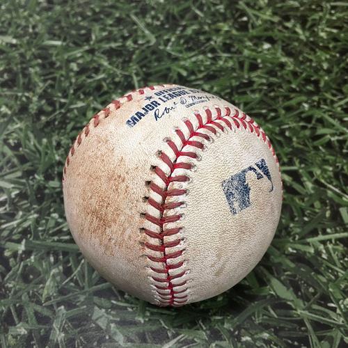 Photo of Game-Used Baseball ATL@MIL 10/08/21 (NLDS Game 1) - Corbin Burnes - Adam Duvall: Strikeout (Burnes' 13th Career Postseason Strikeout; 2nd of 2021)