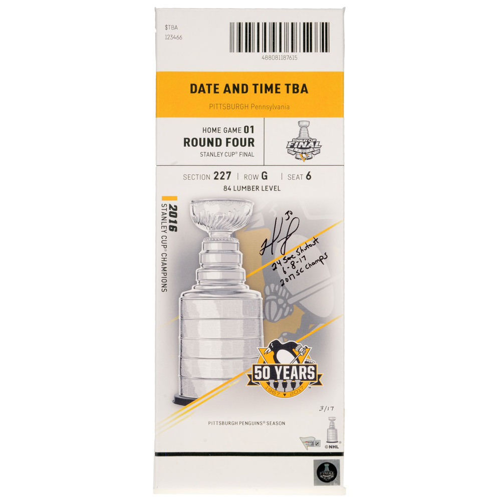 Matt Murray Pittsburgh Penguins Autographed 2017 Stanley Cup Final Game 5 Canvas Ticket with Multiple Inscriptions - #17 of a L.E. of 17