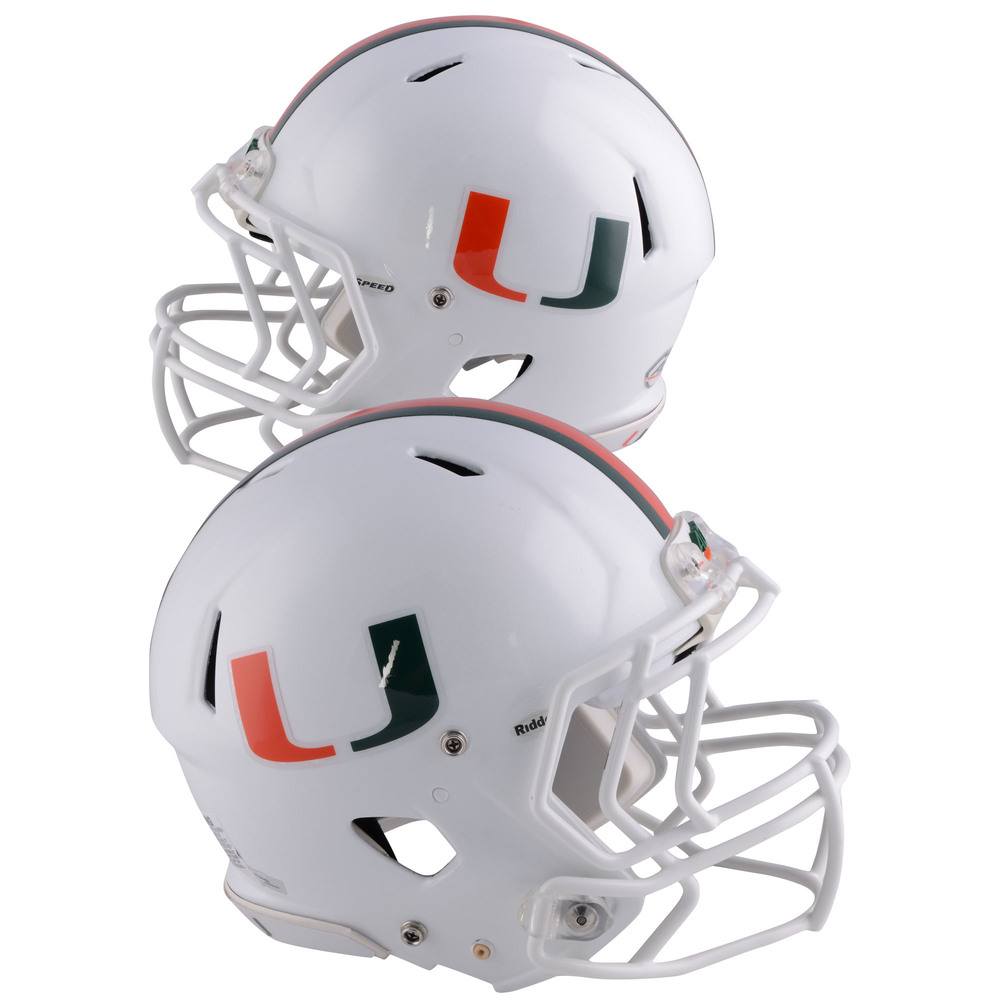 Miami Hurricanes Team-Worn White Speed Two Helmet Worn Between the 2013 and 2017 Football Seasons - Size L