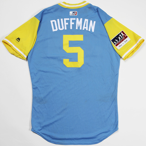 "Photo of Matt ""Duffman"" Duffy Tampa Bay Rays Game-Used 2018 Players' Weekend Jersey"