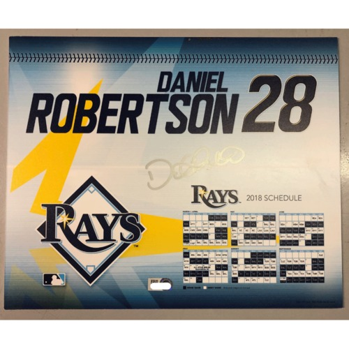Photo of Game-Used Autographed Locker Tag: Daniel Robertson