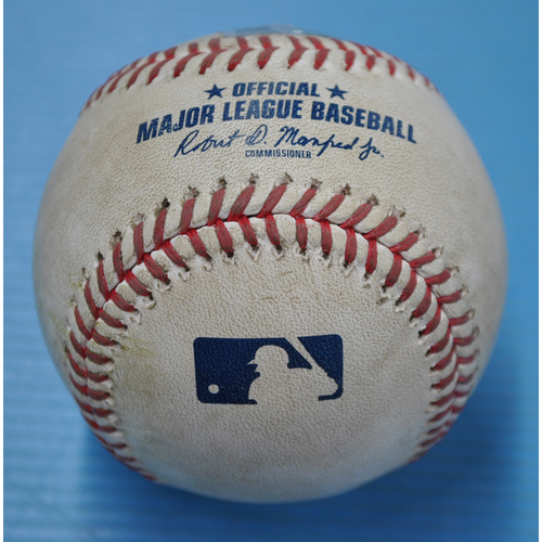 Photo of Game-Used Baseball CLE at PIT - 8/18/2020 - Pitcher - Derek Holland, Batter - Francisco Lindor (CLE), Top 5, Single