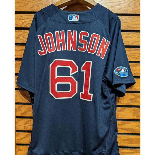 Photo of 2018 Postseason Brian Johnson #61 Team Issued Navy Road Alternate Jersey
