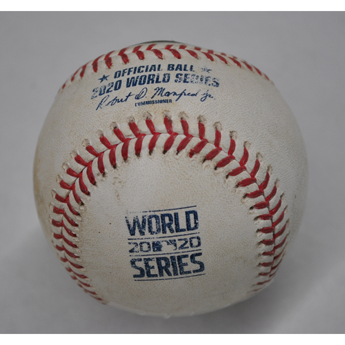 Photo of Game-Used Baseball - 2020 World Series - Los Angeles Dodgers vs. Tampa Bay Rays - Game 5 - Pitcher: Dustin May, Batter: Kevin Kiermaier (Single to LF) - Bot 8
