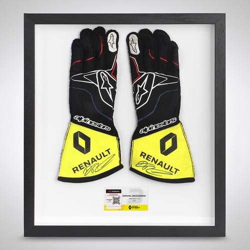 Photo of Daniel Ricciardo 2020 Framed Signed Race-worn Gloves - Tuscan GP