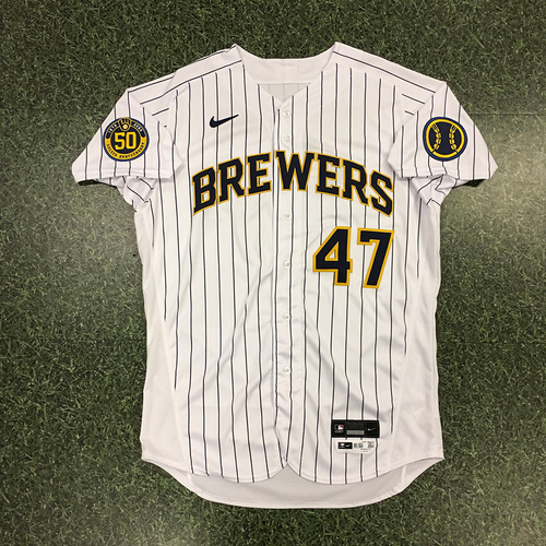 Photo of Angel Perdomo 2020 Team-Issued Home Pinstripe Jersey