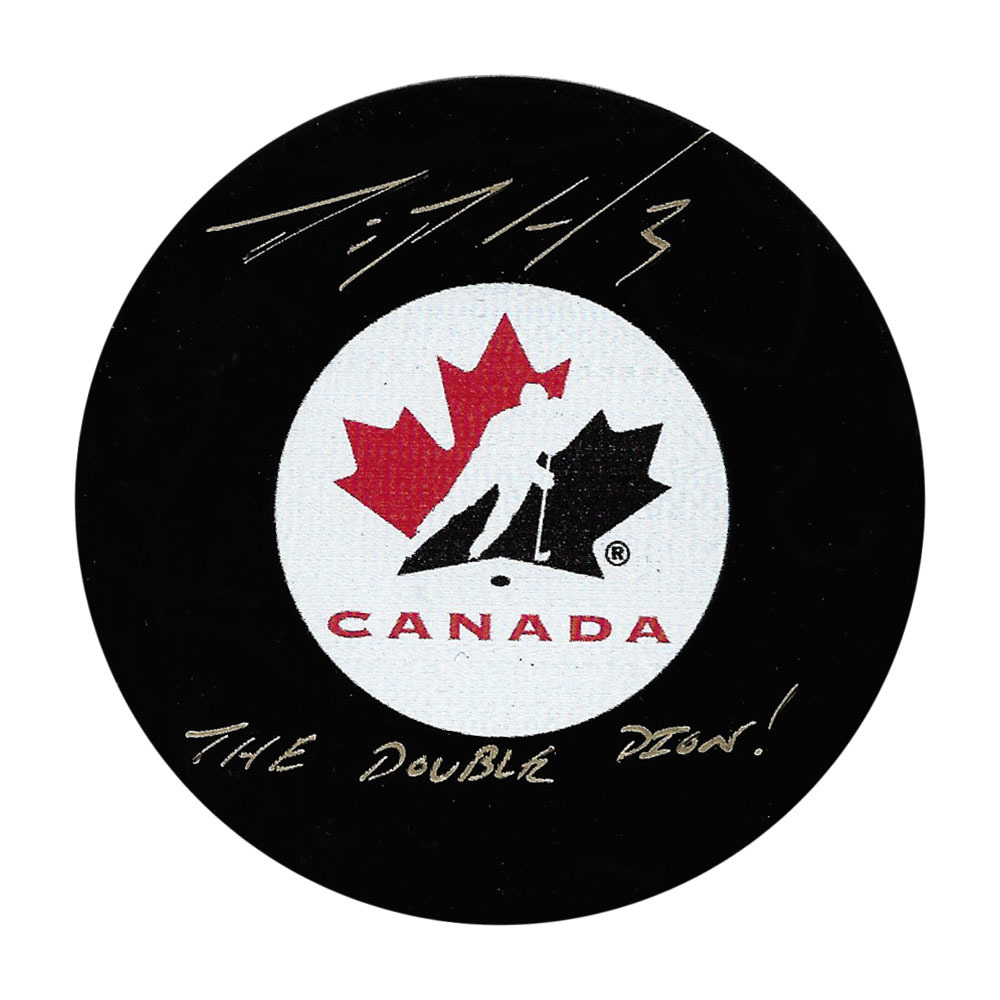 Dion Phaneuf Autographed Team Canada Puck w/THE DOUBLE DION Inscription