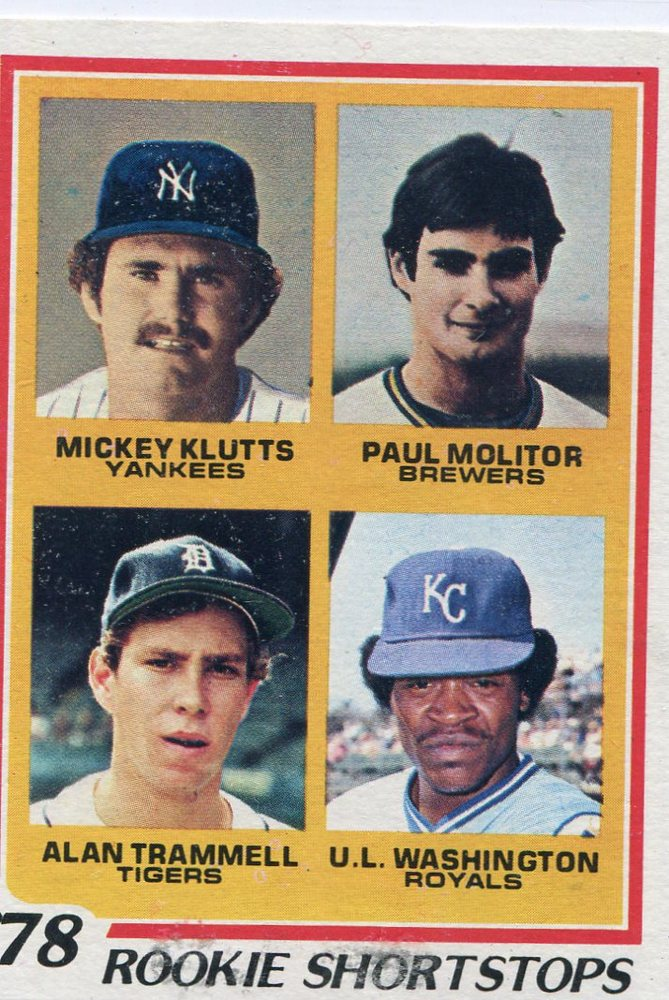 1978 Topps #707 Rookie Shortstops Paul Molitor  Alan Trammell Rookie Cards