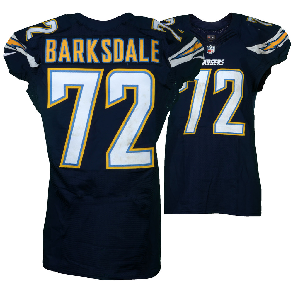 Joe Barksdale San Diego Chargers Game-Used #72 Blue Jersey vs. Kansas City Chiefs on January 1, 2017