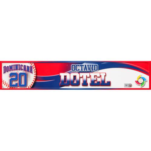 Photo of 2013 WBC: Dominican Republic Game-Used Locker Name Plate - #20 Octavio Dotel