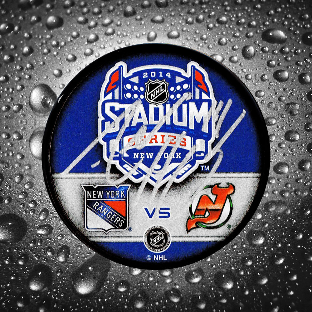 Adam Henrique New Jersey Devils 2014 Stadium Series Autographed Puck