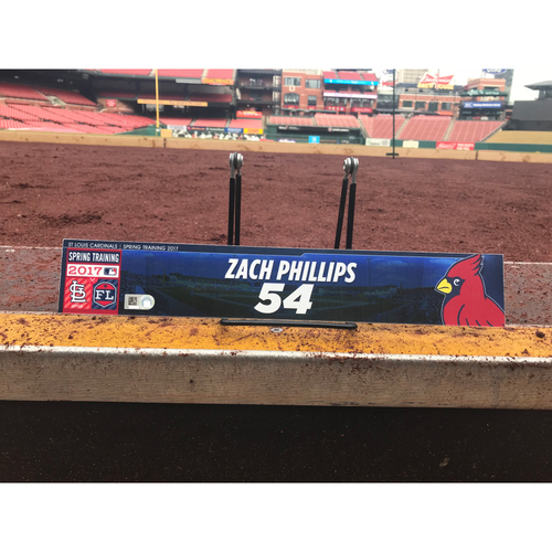 Photo of Cardinals Authentics: Zach Phillips Team-Issued Spring Training Locker Tag