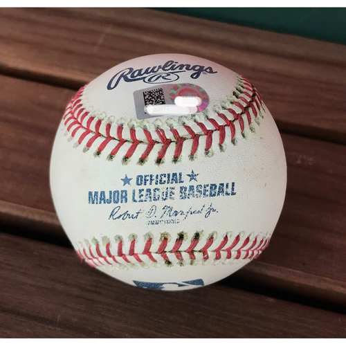 Photo of Game-Used Baseball from Nationals Record 25-Run Game - Juan Soto Double