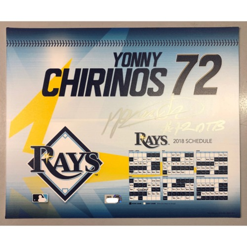 Photo of Game-Used Autographed Locker Tag: Yonny Chirinos - First MLB Season