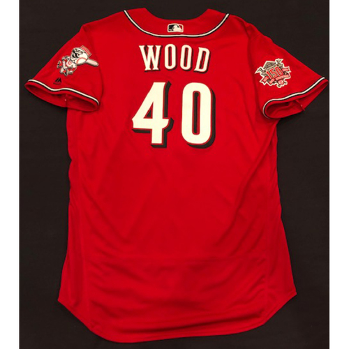 "Photo of Alex Wood -- Team-Issued ""Los Rojos"" Jersey -- D-backs vs. Reds on 9/6/19 -- Jersey Size 48"