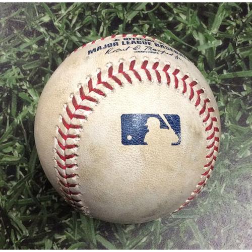 Photo of Game-Used Baseball SD@MIL 09/18/19 - Dinelson Lamet - Ben Gamel: Single