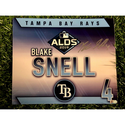 Photo of Game Used ALDS Autographed Locker Tag: Blake Snell - October 7, 2019 v HOU