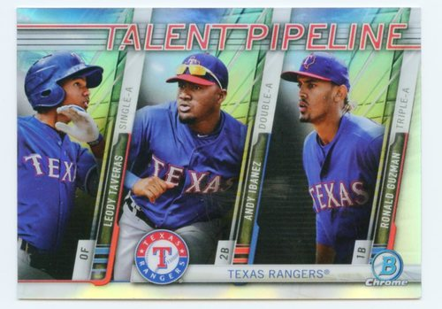 Photo of 2017 Bowman Chrome Talent Pipeline Refractors #TPTEX Leody Taveras/Andy Ibanez/Ronald Guzman