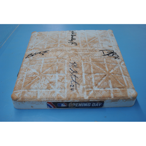 MLB Opening Day Auction Supporting The Players Alliance - Game-Used and Autographed Base - 3rd Base Innings 1-9 - Jackie Bradley Jr, Mychal Givens, DJ Stewart, Dwight Smith Jr, Cedric Mullins - Baltimore Orioles at Boston Red Sox 7/25/2020