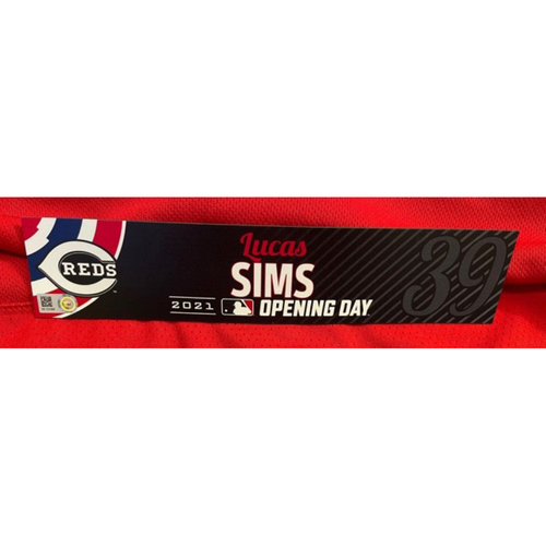 Lucas Sims -- 2021 Opening Day Locker Tag -- Game-Used -- Cardinals vs. Reds on 4/1/21