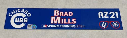 Photo of Brad Mills 2021 Spring Training Locker Nameplate