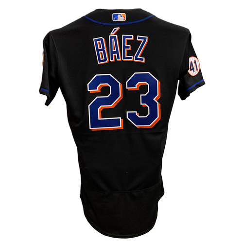 Photo of Javier Baez #23 - Game Used Black Jersey with Seaver Patch - 1-4, HR (25), RBI and 1 Run Scored - Mets vs. Nationals - 8/27/21