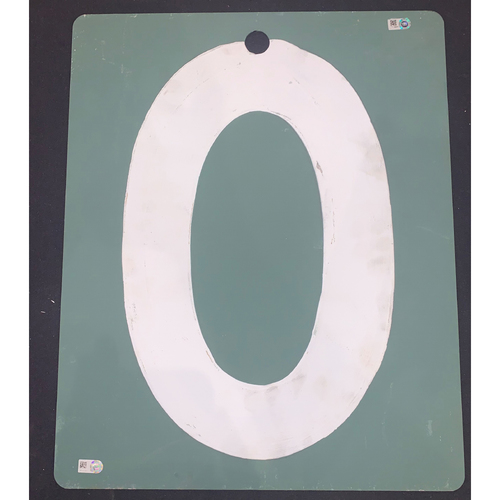 Photo of Los Angeles Dodgers at Boson Red Sox  October 23, 2018 Game Used Scoreboard Number - Bottom of the Sixth